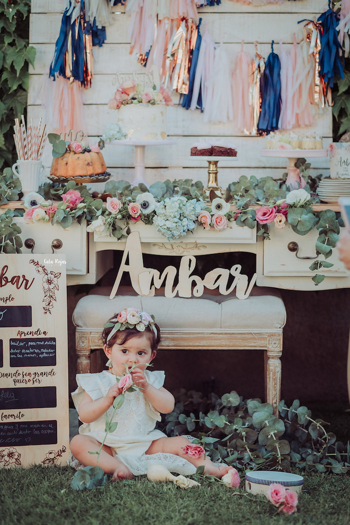 Dessert table from a Whimsical Vintage 1st Birthday Party on Kara's Party Ideas | KarasPartyIdeas.com (8)