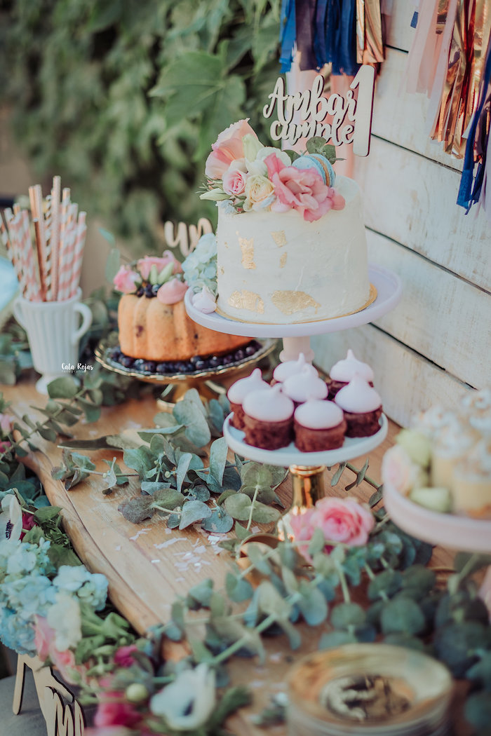 Dessert table from a Whimsical Vintage 1st Birthday Party on Kara's Party Ideas | KarasPartyIdeas.com (7)
