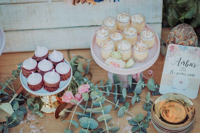 Dessert table detail from a Whimsical Vintage 1st Birthday Party on Kara's Party Ideas | KarasPartyIdeas.com (3)