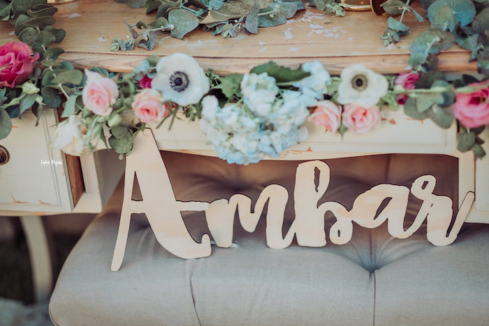 Wood name sign from a Whimsical Vintage 1st Birthday Party on Kara's Party Ideas | KarasPartyIdeas.com (26)