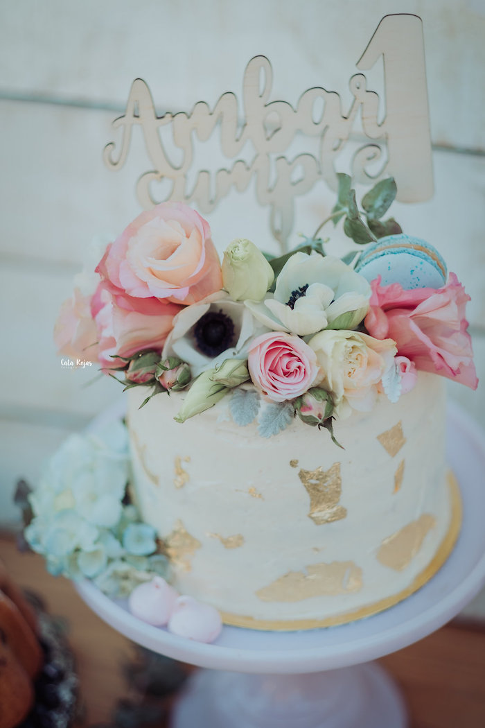 Floral glam cake from a Whimsical Vintage 1st Birthday Party on Kara's Party Ideas | KarasPartyIdeas.com (22)