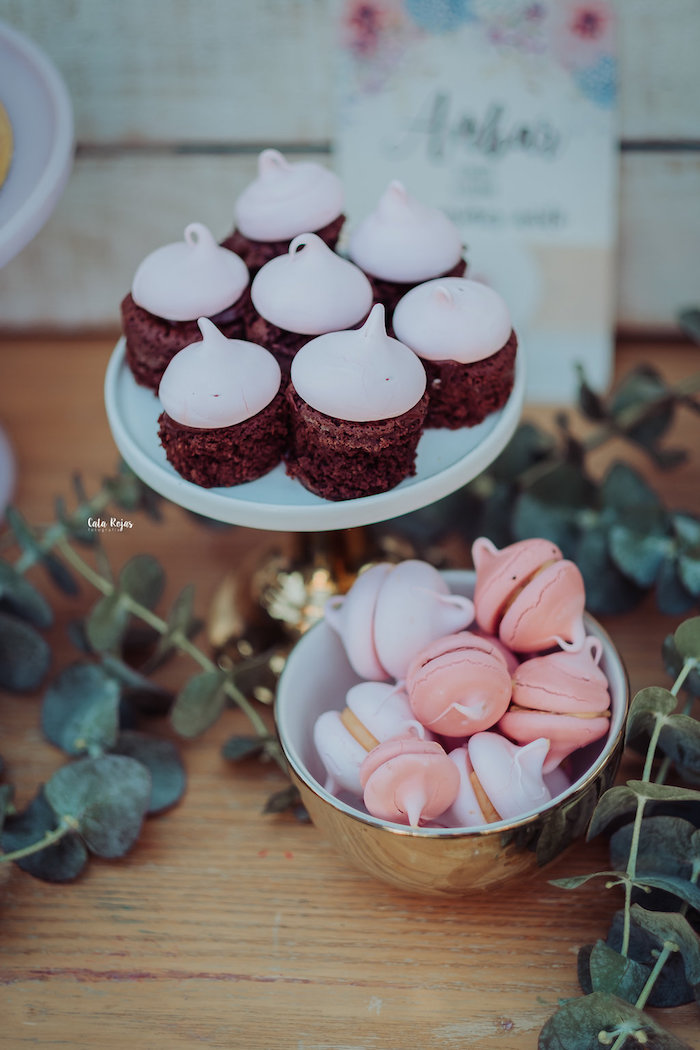 Cupcakes + meringue macarons from a Whimsical Vintage 1st Birthday Party on Kara's Party Ideas | KarasPartyIdeas.com (21)