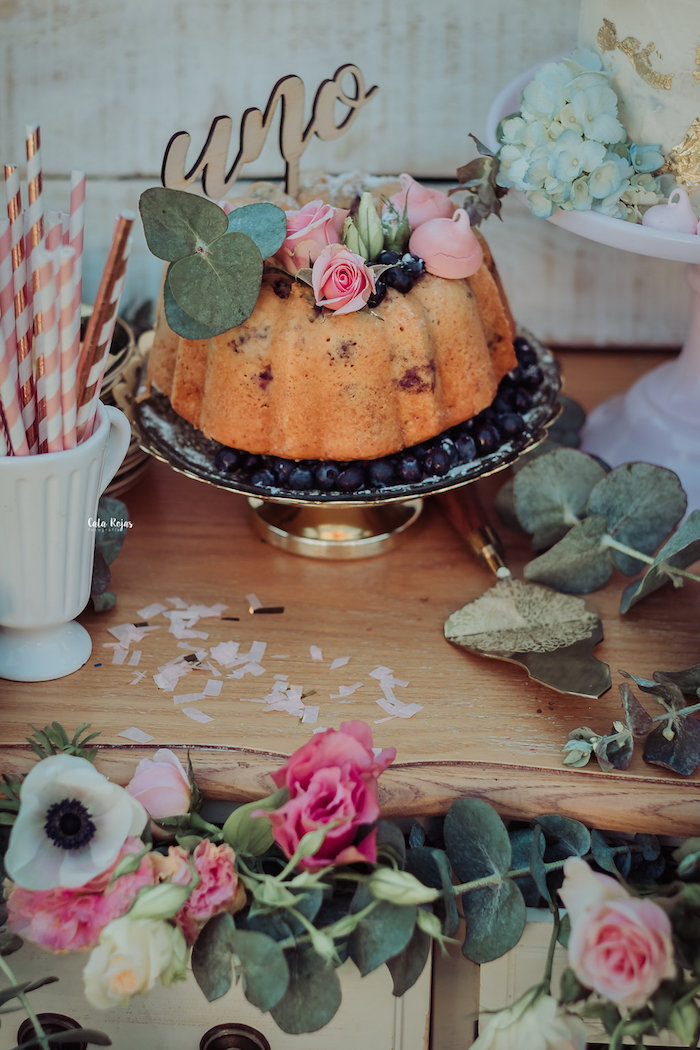 Floral bundt cake from a Whimsical Vintage 1st Birthday Party on Kara's Party Ideas | KarasPartyIdeas.com (19)