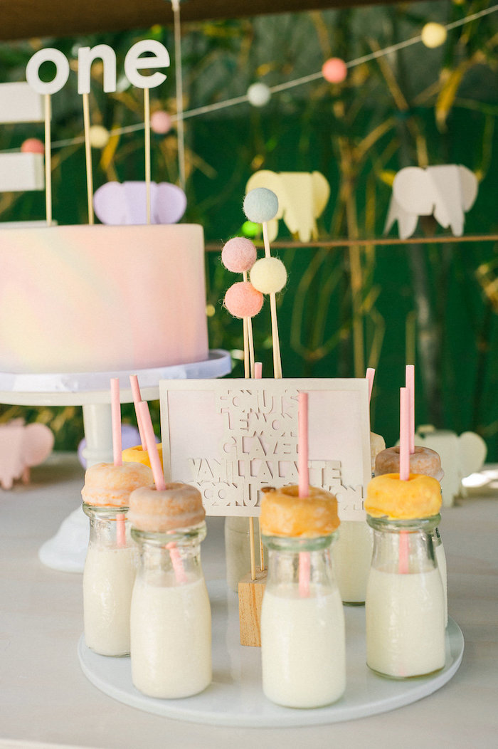 Doughnut-topped milk bottles from a Whimsical Watercolor Elephant Birthday Party on Kara's Party Ideas | KarasPartyIdeas.com (11)