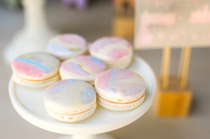 Macarons from a Whimsical Watercolor Elephant Birthday Party on Kara's Party Ideas | KarasPartyIdeas.com (10)