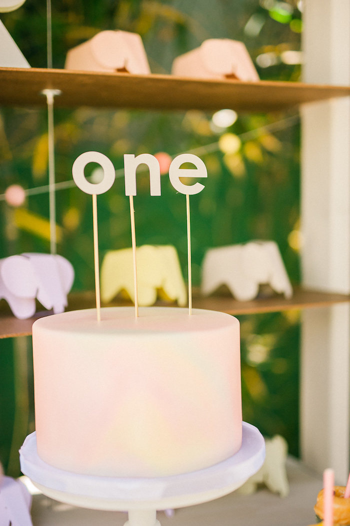 Modern cake from a Whimsical Watercolor Elephant Birthday Party on Kara's Party Ideas | KarasPartyIdeas.com (8)
