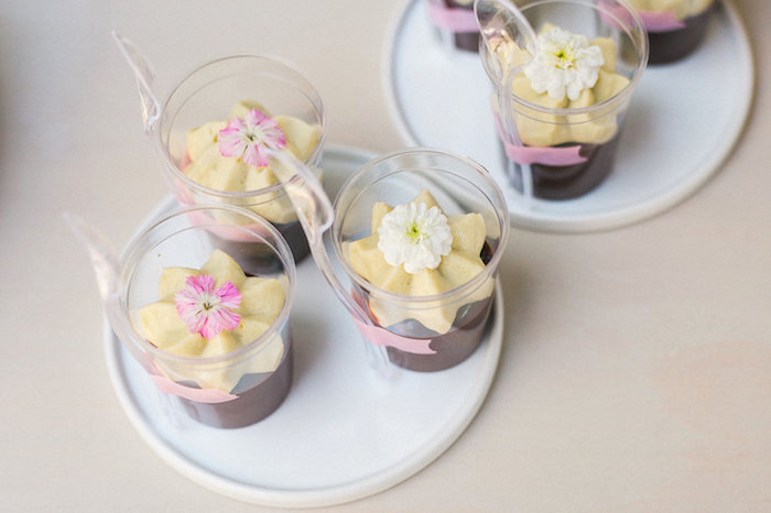 Flower dessert cups from a Whimsical Watercolor Elephant Birthday Party on Kara's Party Ideas | KarasPartyIdeas.com (7)
