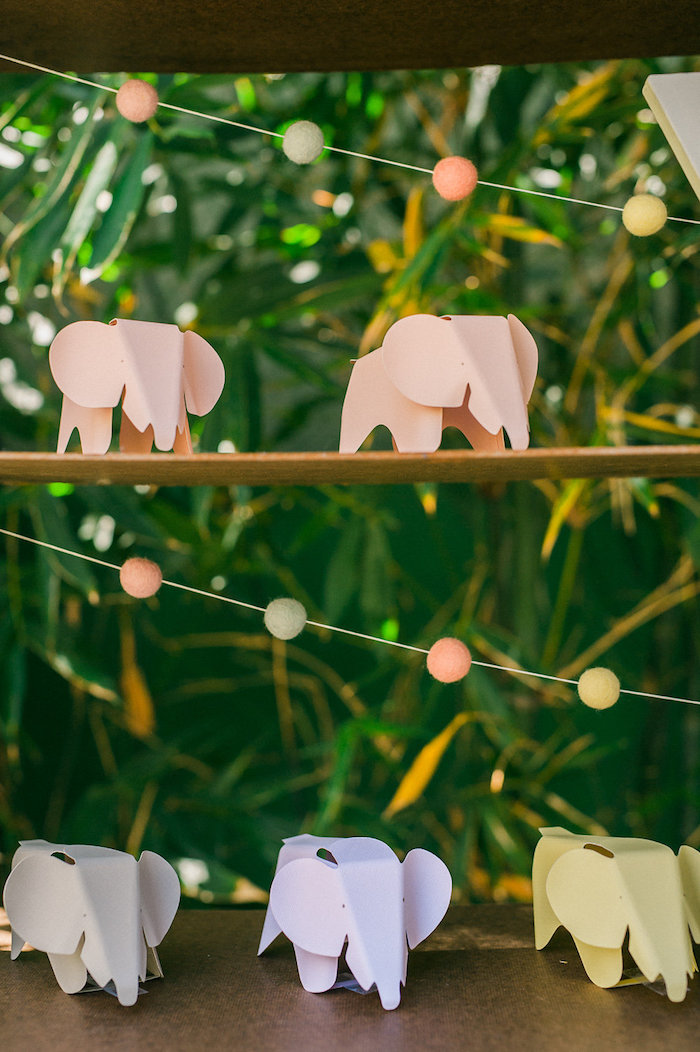 Paper elephants from a Whimsical Watercolor Elephant Birthday Party on Kara's Party Ideas | KarasPartyIdeas.com (6)