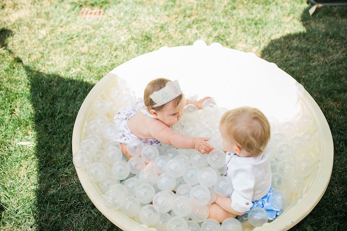 Balloon pool from a Whimsical Watercolor Elephant Birthday Party on Kara's Party Ideas | KarasPartyIdeas.com (5)