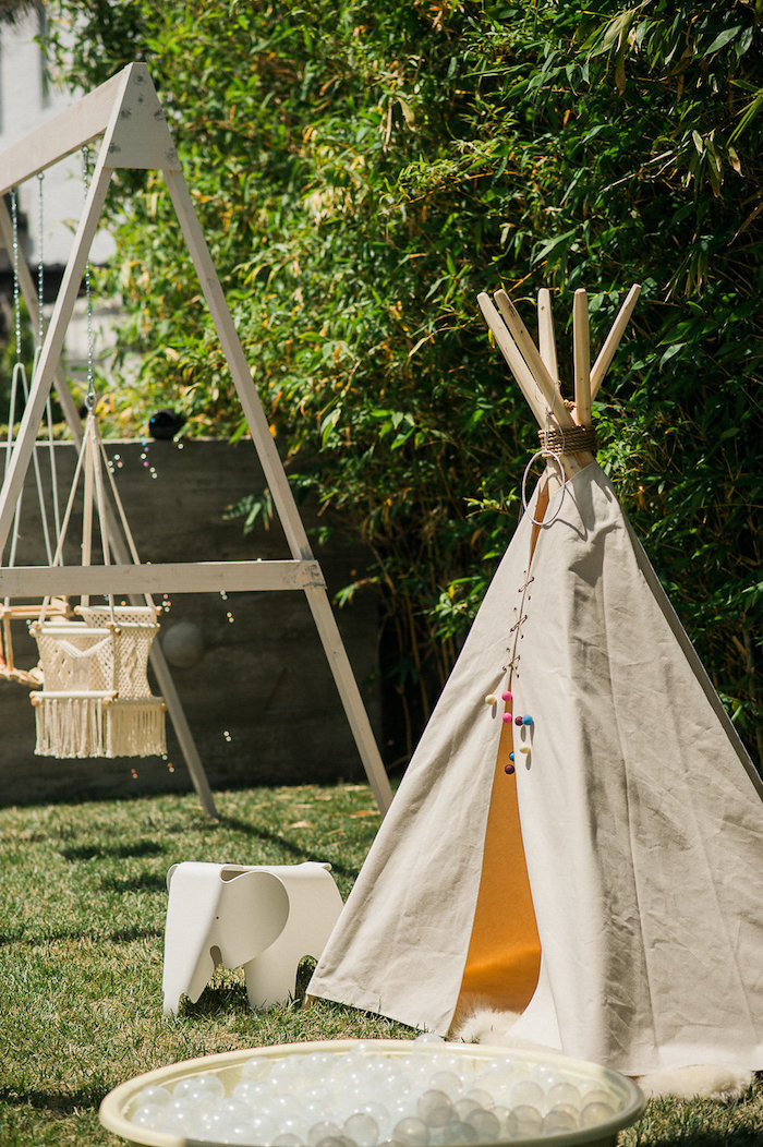 Teepee from a Whimsical Watercolor Elephant Birthday Party on Kara's Party Ideas | KarasPartyIdeas.com (26)