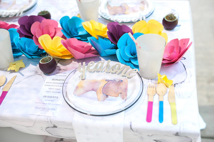 Table setting from a Whimsical Watercolor Elephant Birthday Party on Kara's Party Ideas | KarasPartyIdeas.com (24)