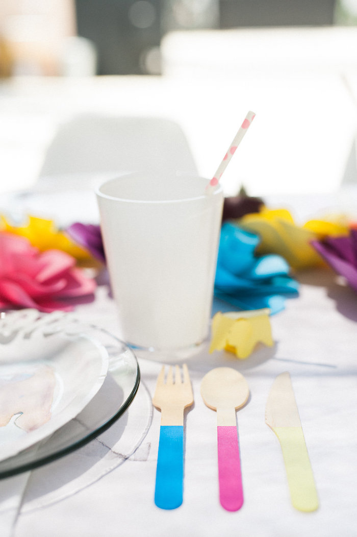 Wooden primary colored utensils from a Whimsical Watercolor Elephant Birthday Party on Kara's Party Ideas | KarasPartyIdeas.com (23)