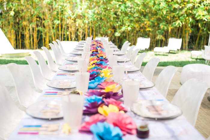 Paper flower-lined guest tablescape from a Whimsical Watercolor Elephant Birthday Party on Kara's Party Ideas | KarasPartyIdeas.com (22)