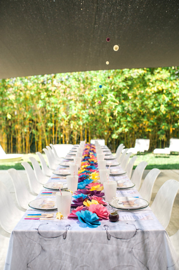 Modern-whimsy guest table from a Whimsical Watercolor Elephant Birthday Party on Kara's Party Ideas | KarasPartyIdeas.com (21)