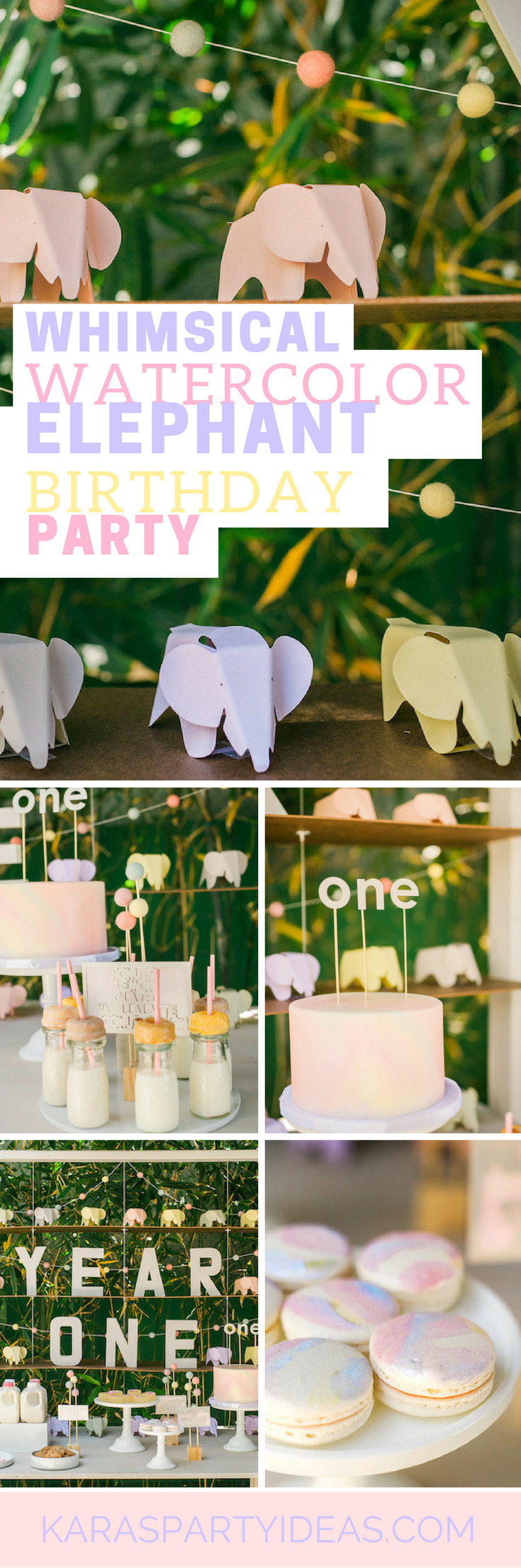 Whimsical Watercolor Elephant Birthday Party via Kara's Party Ideas - KarasPartyIdeas.com