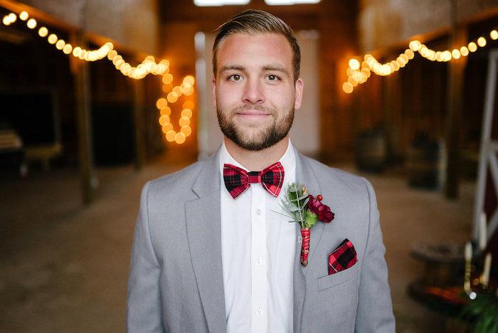 Buffalo plaid bow tie and square from a Winter Barn Wedding on Kara's Party Ideas | KarasPartyIdeas.com (32)