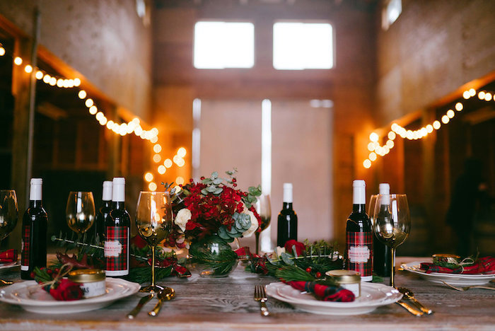 Dining table from a Winter Barn Wedding on Kara's Party Ideas | KarasPartyIdeas.com (28)