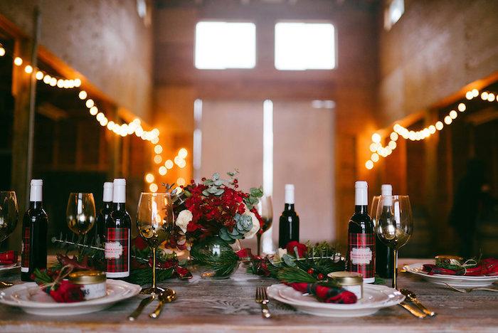 Dining table from a Winter Barn Wedding on Kara's Party Ideas | KarasPartyIdeas.com (28)
