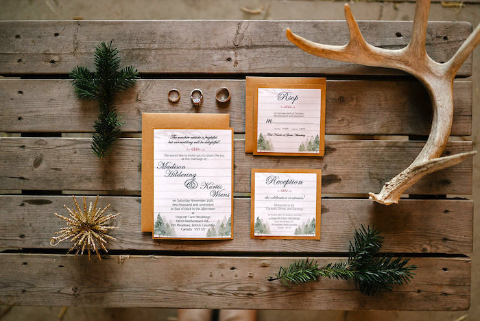 Invitation + signage from a Winter Barn Wedding on Kara's Party Ideas | KarasPartyIdeas.com (46)