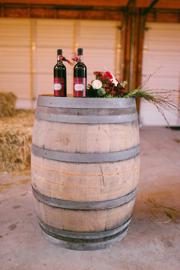 Wine barrel table from a Winter Barn Wedding on Kara's Party Ideas | KarasPartyIdeas.com (27)