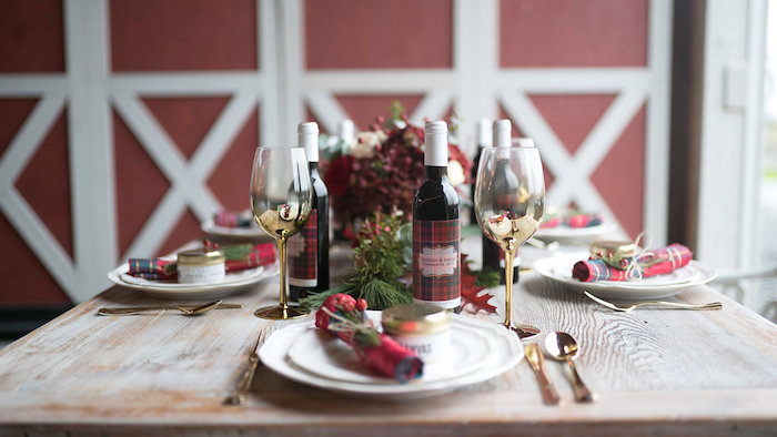 Table Setting From A Winter Barn Wedding On Karas Party Ideas