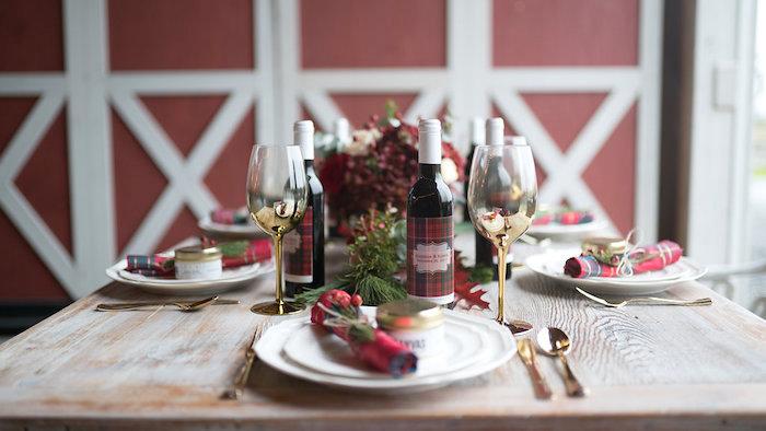 Table setting from a Winter Barn Wedding on Kara's Party Ideas | KarasPartyIdeas.com (26)