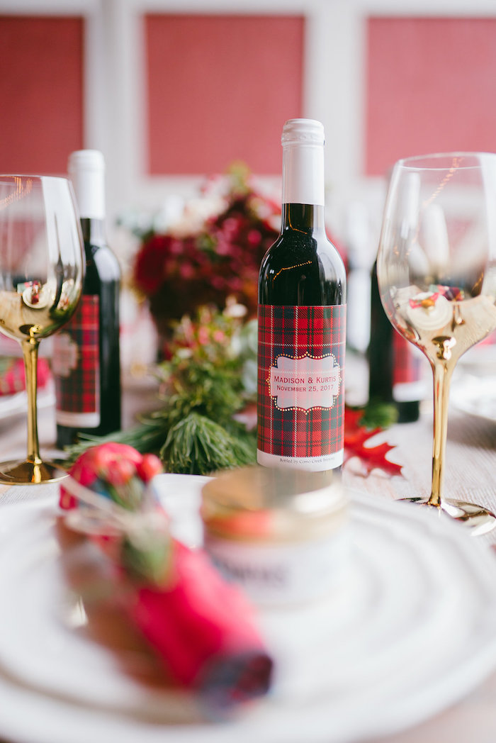 Gold glam wine glasses with plaid labeled bottles from a Winter Barn Wedding on Kara's Party Ideas | KarasPartyIdeas.com (25)