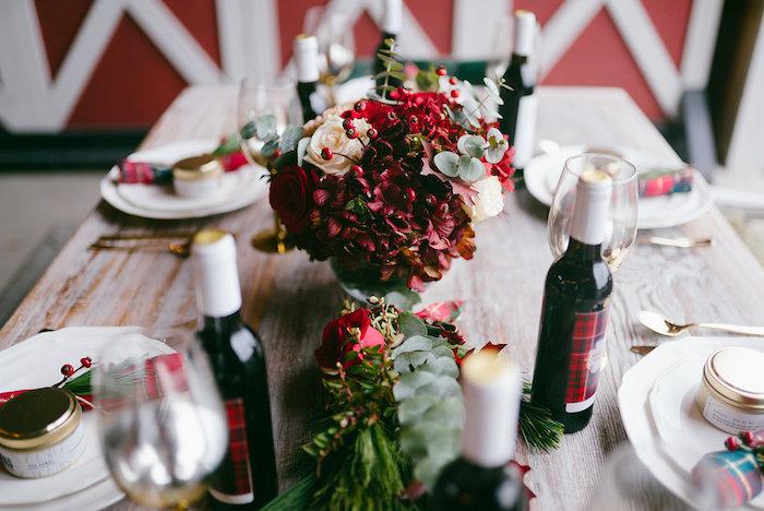 Floral centerpiece from a Winter Barn Wedding on Kara's Party Ideas | KarasPartyIdeas.com (24)