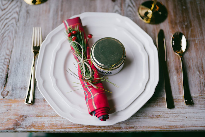 Table setting from a Winter Barn Wedding on Kara's Party Ideas | KarasPartyIdeas.com (22)