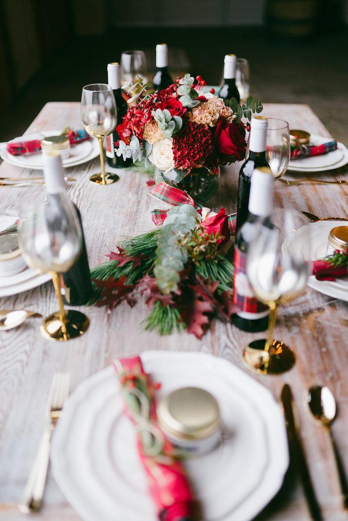 Guest tablescape from a Winter Barn Wedding on Kara's Party Ideas | KarasPartyIdeas.com (21)