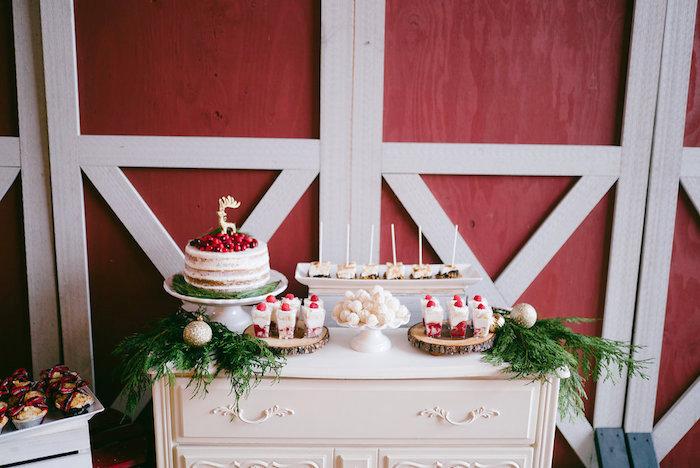 Sweet table from a Winter Barn Wedding on Kara's Party Ideas | KarasPartyIdeas.com (18)