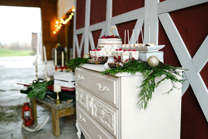 Sweet tablescape from a Winter Barn Wedding on Kara's Party Ideas | KarasPartyIdeas.com (45)