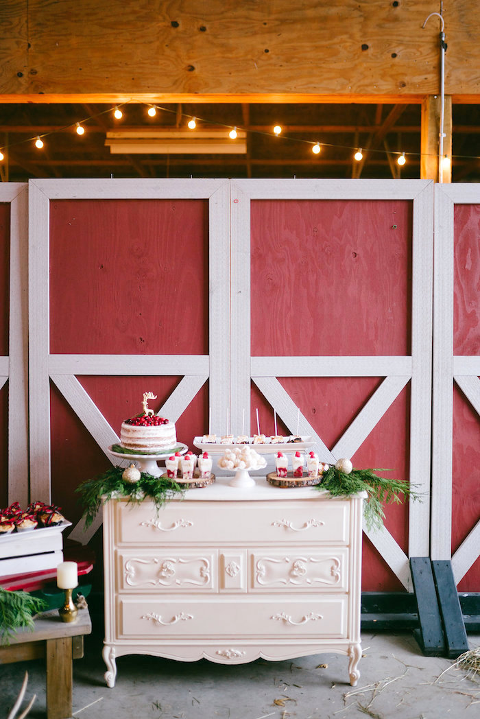 Dessert spread from a Winter Barn Wedding on Kara's Party Ideas | KarasPartyIdeas.com (17)