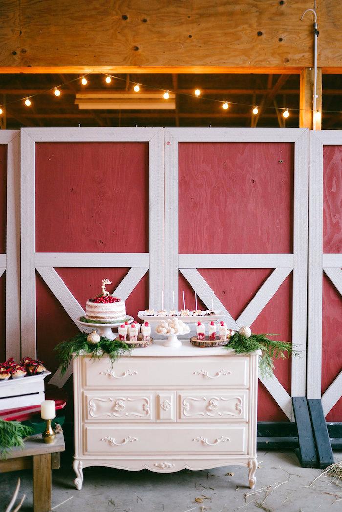 Dessert spread from a Winter Barn Wedding on Kara's Party Ideas | KarasPartyIdeas.com (17)