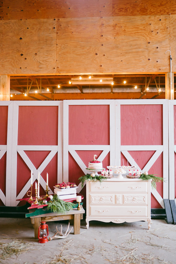 Dessert spread from a Winter Barn Wedding on Kara's Party Ideas | KarasPartyIdeas.com (16)