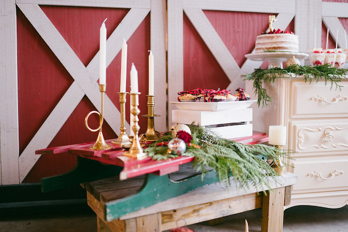 Vintage sled from a Winter Barn Wedding on Kara's Party Ideas | KarasPartyIdeas.com (15)