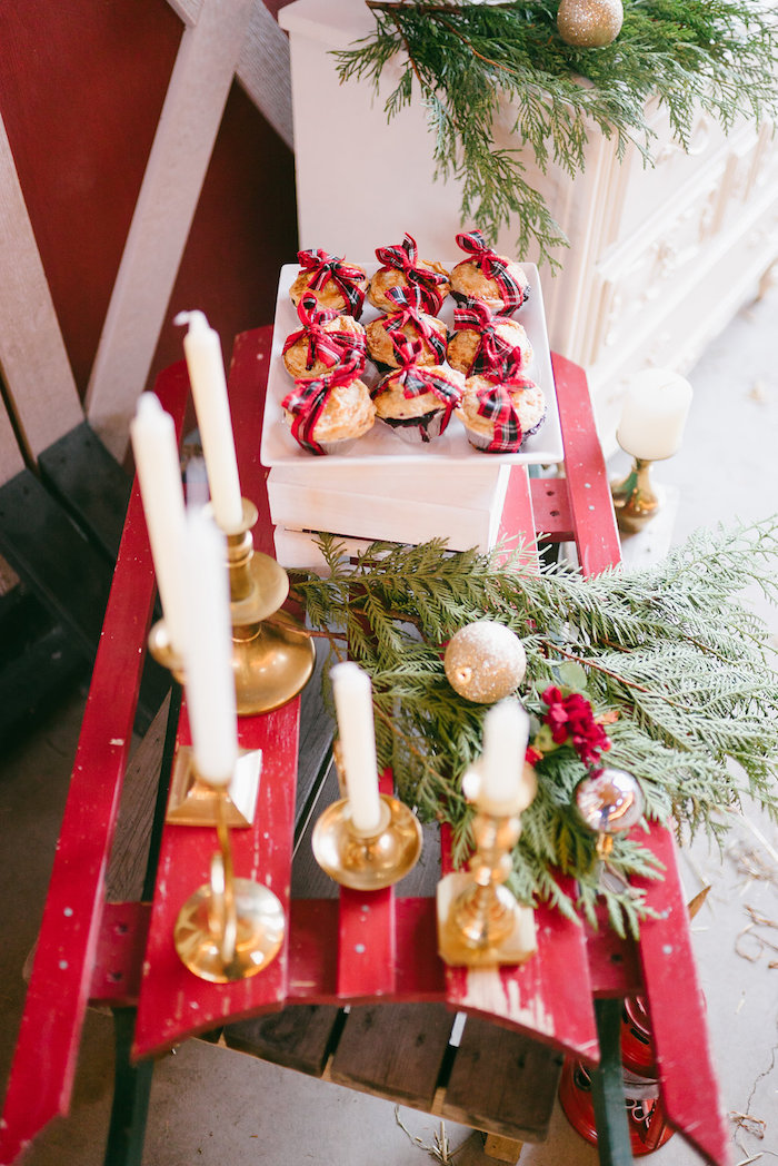 Vintage sled from a Winter Barn Wedding on Kara's Party Ideas | KarasPartyIdeas.com (14)