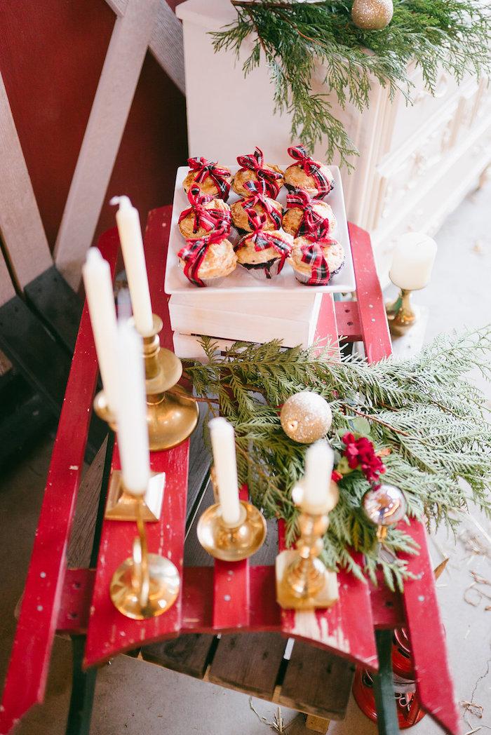Vintage sled from a Winter Barn Wedding on Kara's Party Ideas | KarasPartyIdeas.com (14)