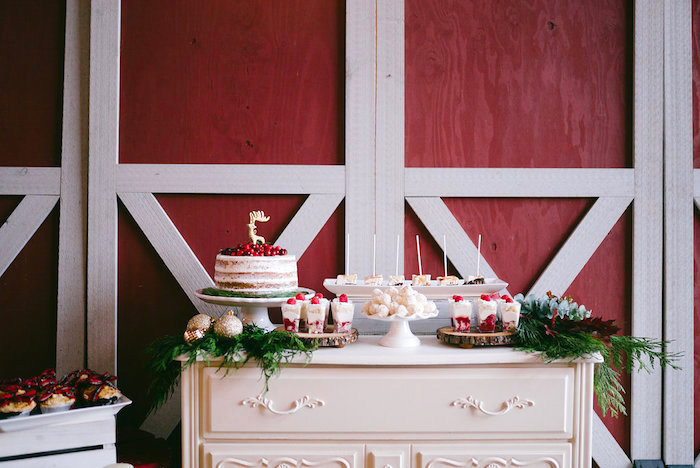 Dessert table from a Winter Barn Wedding on Kara's Party Ideas | KarasPartyIdeas.com (12)