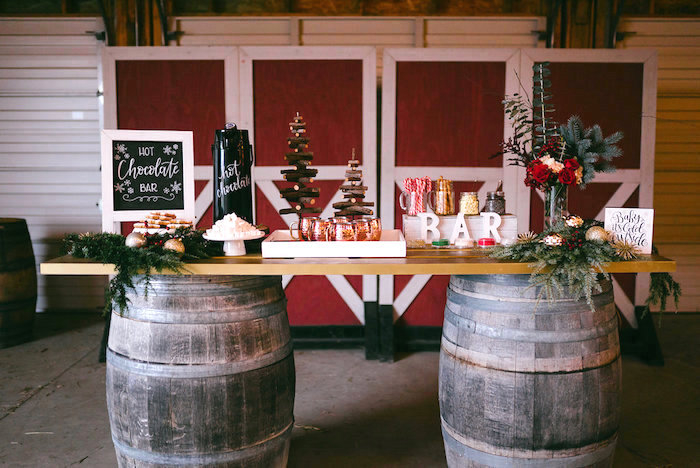 Hot Chocolate Bar from a Winter Barn Wedding on Kara's Party Ideas | KarasPartyIdeas.com (9)