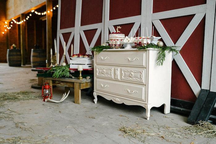 Sweet table from a Winter Barn Wedding on Kara's Party Ideas | KarasPartyIdeas.com (44)