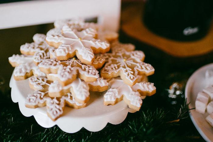 Snowflake cookies from a Winter Barn Wedding on Kara's Party Ideas | KarasPartyIdeas.com (5)