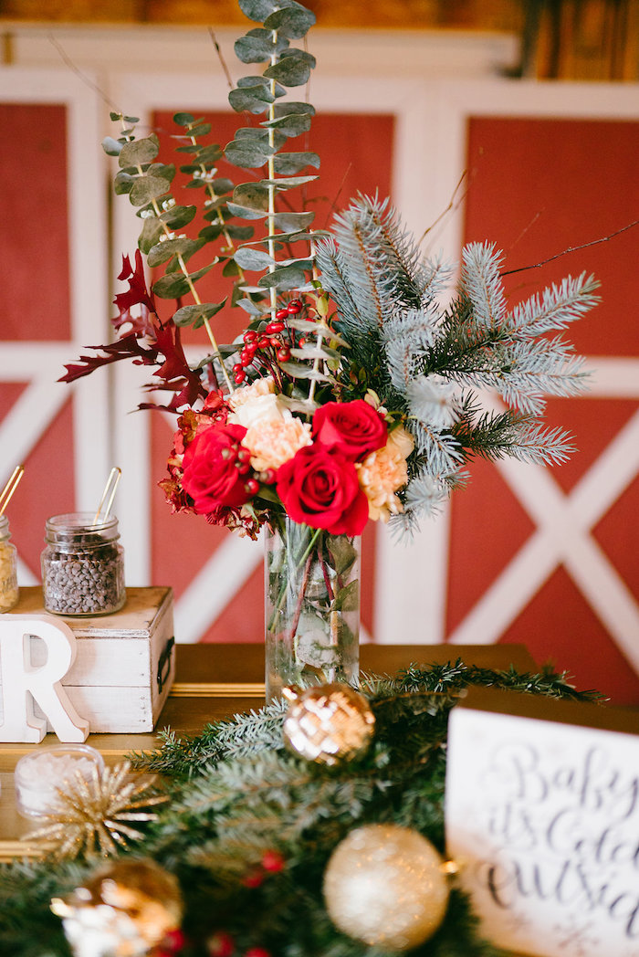 Winter floral arrangement from a Winter Barn Wedding on Kara's Party Ideas | KarasPartyIdeas.com (4)