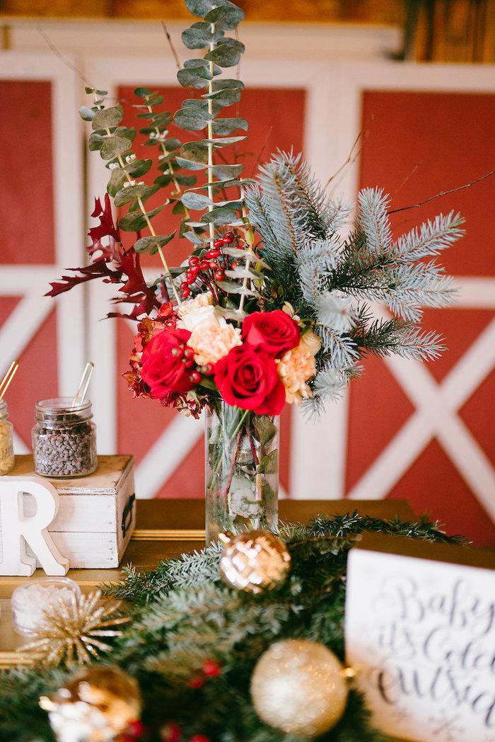 Winter floral arrangement from a Winter Barn Wedding on Kara's Party Ideas | KarasPartyIdeas.com (4)