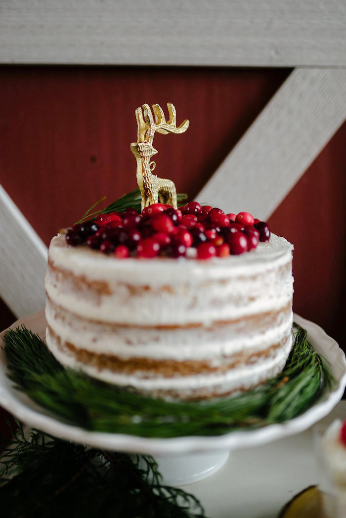 Semi-naked cake topped with holly berries from a Winter Barn Wedding on Kara's Party Ideas | KarasPartyIdeas.com (43)