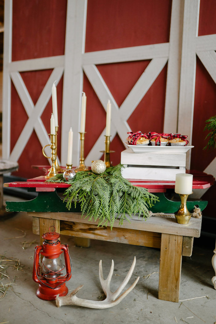 Vintage sled + table from a Winter Barn Wedding on Kara's Party Ideas | KarasPartyIdeas.com (39)