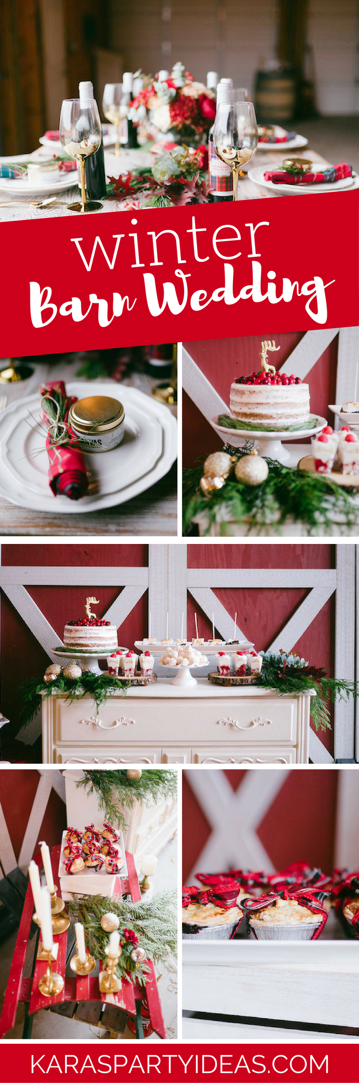 Winter Barn Wedding via Kara's Party Ideas - KarasPartyIdeas.com