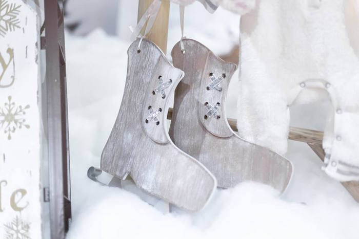 Wooden ice skates from a Winter Wonderland Baby Shower on Kara's Party Ideas | KarasPartyIdeas.com (35)