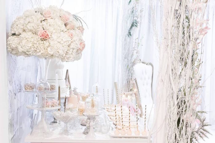 Dessert table from a Winter Wonderland Baby Shower on Kara's Party Ideas | KarasPartyIdeas.com (30)