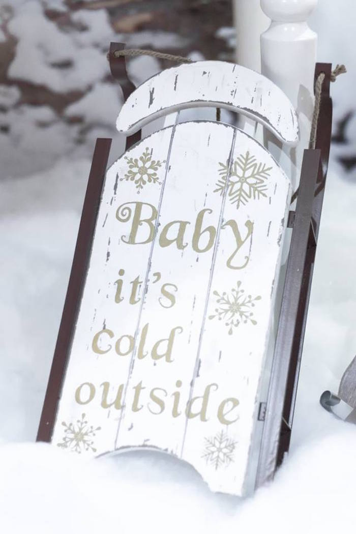 Vintage sled sign from a Winter Wonderland Baby Shower on Kara's Party Ideas | KarasPartyIdeas.com (26)